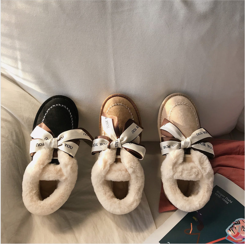 New Autumn Flat Keep Warm Ankle Boots Women Lace Up Short Plush Snow Boots Shoes Woman Winter Cotton Shoes Women Chaussure 2019 54