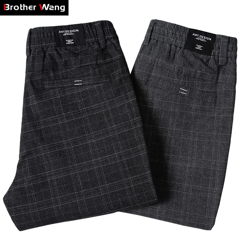 2019 New Men's Casual Plaid Pants Business Casual Slim Fit Dark Grey Classic Style Elastic Trousers Male Brand Clothes