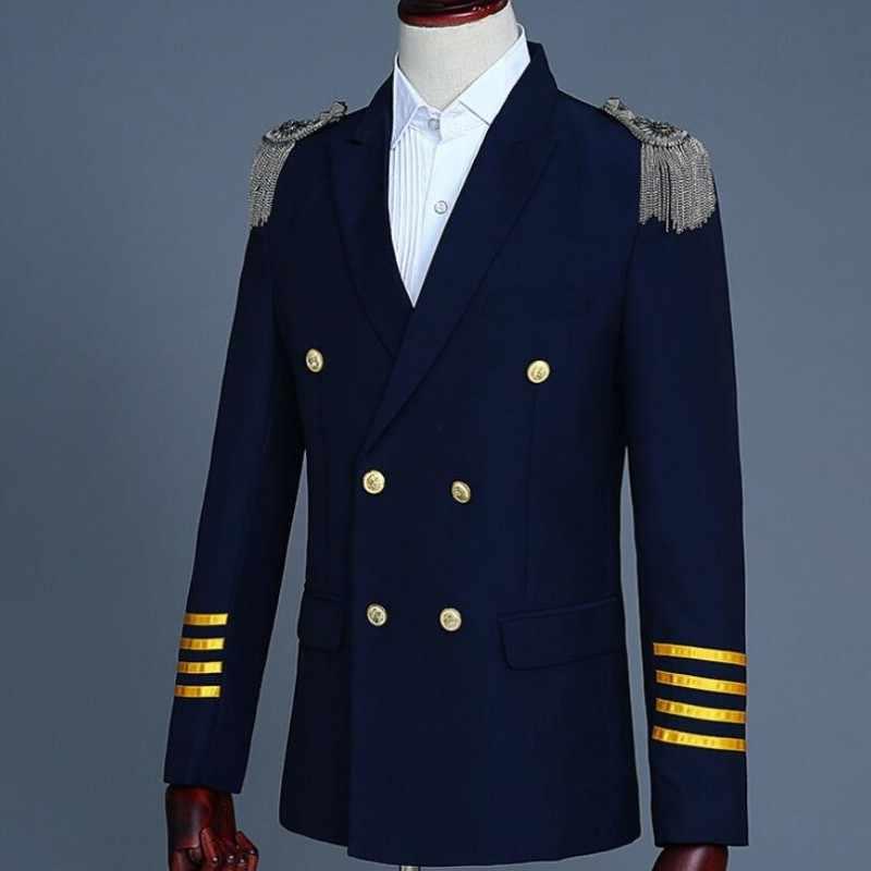 Heren Formele Epaulet Kwasten Pilot Kapitein Blazer Broek Past Double Breasted Slim Fit Jurk Pak Terno Masculino Kostuum 2 Stuk