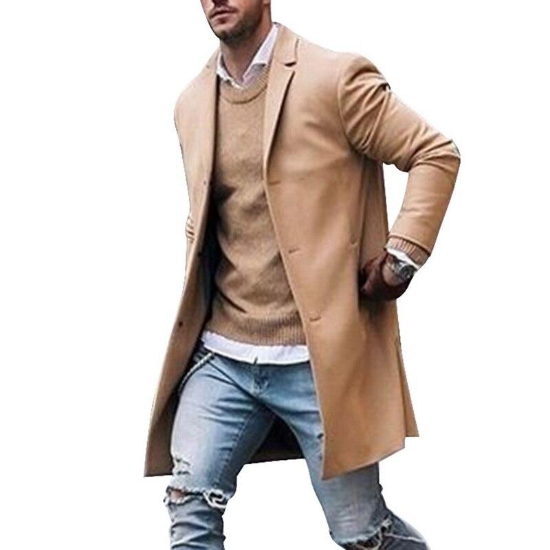 2019 Winter Wool Jacket Men's High-quality Wool Coat Casual Slim Collar Woolen Coat Men's Long Cotton Collar Trench Coat 6