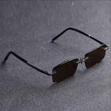 Vazrobe Brown Glass Sunglasses Men Rimless Natural Crystal Sun Glasses for Man Anti Dry Eye Protect Scratch UV400