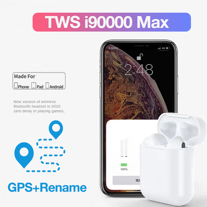 I90000 Max Pro TWS Air2 Bluetooth Earphone Wireless Headset Mini Stereo Headphone In-ear Detection Rename GPS Sport Earbuds