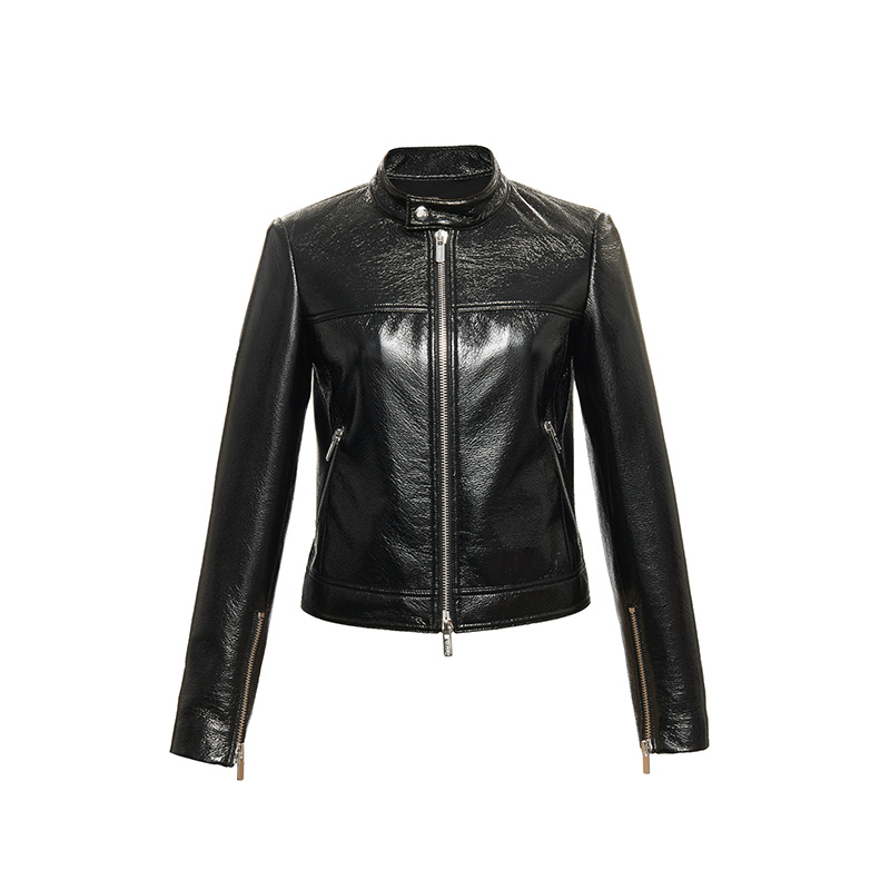 Streetwear style retro stand collar pu   leather   jacket female autumn fashion single breasted zppier beading   leather   outerwear F57