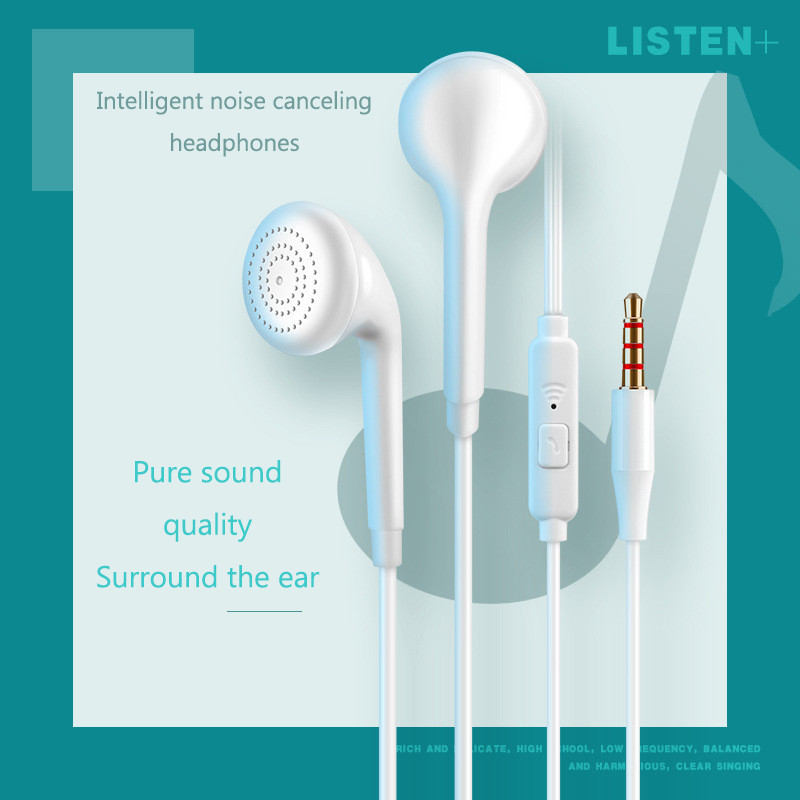 Hengshanlao 3.5 Wired Earphones With Microphone Volume Control Waterproof Music Gaming In-ear Sport Headset Off White Earbuds