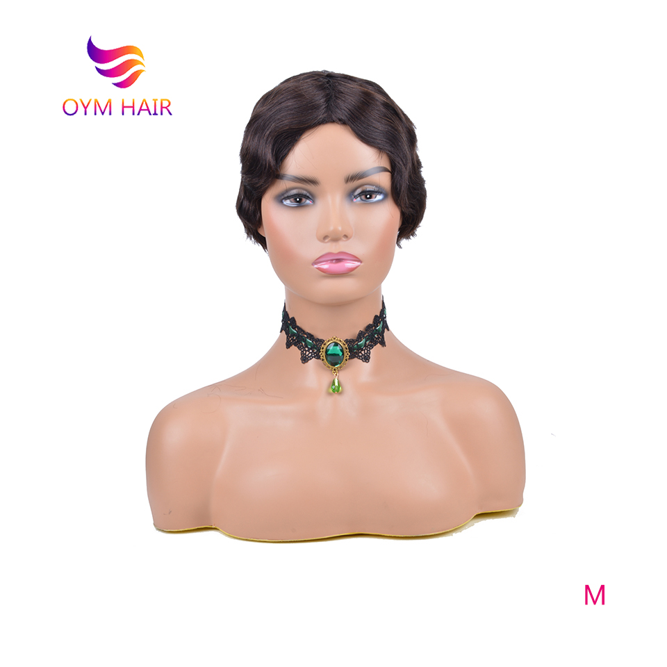 OYM HAIR Brazilian Short Human Hair Wig 100% Remy Human Hair Wig For Black Women Ombre Pixie Cut Wig 150% Density