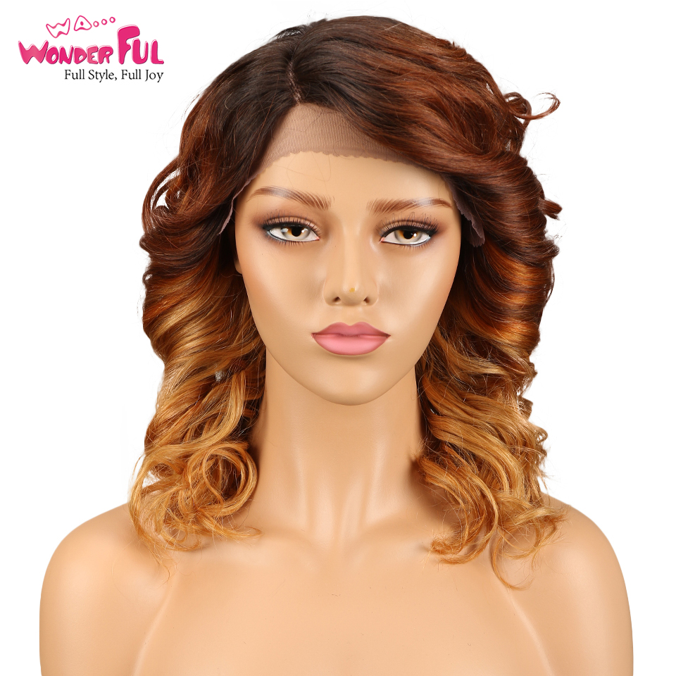 L Part Lace Front Human Hair Wigs For Black Women Spiral Curly Brazilian Remy Loose Curly Wig 14 Inch Free Shipping
