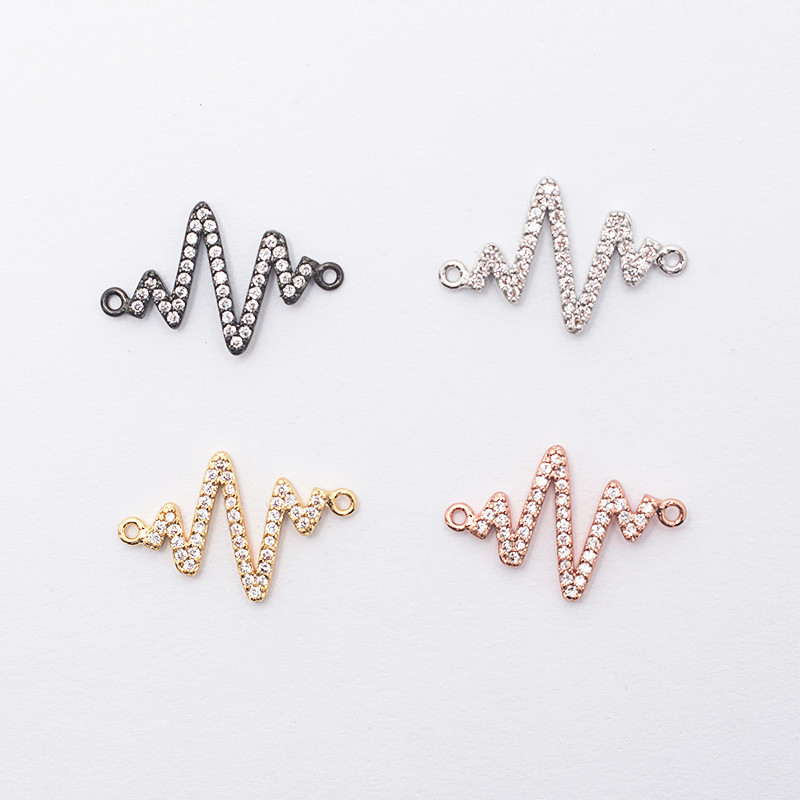 Copper Exquisite Miniature P Jewelry Connector Bracelet Necklace Connector Jewelry Making DIY Craft Punching Zigzag