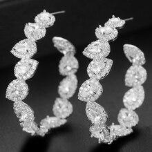 GODKI 46mm Luxury Iregular Geometry Circle Trendy Cubic Zirconia Women Wedding Party Earring High Jewelry Addiction