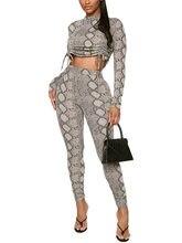 Frauen Schlange Muster Gedruckt Zwei Stücke Anzug Kurze Volle Länge Regelmäßige Hülse Pullover Kordelzug Top Knöchel-länge Bottom Set