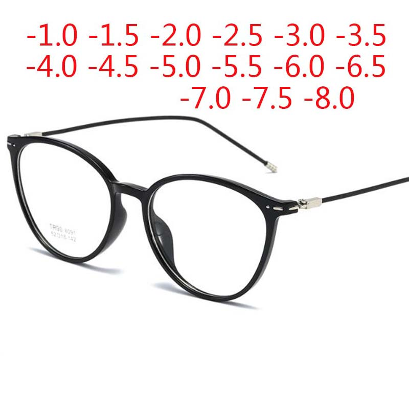 Cat Eye Finished Myopia Glasses Women Men Short Sight Spectacles Diopter -0.5  -1.0 -2.0 -2.5 -3.0 -4.0 To -8.0