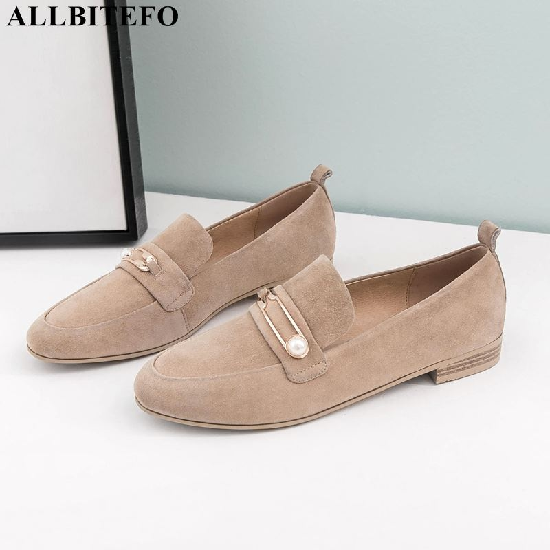 ALLBITEFO Fashion Casual Low-heeled Comfortable Women Shoes Full Genuine Leather Thick Heel Office Ladies Shoes Women Heels