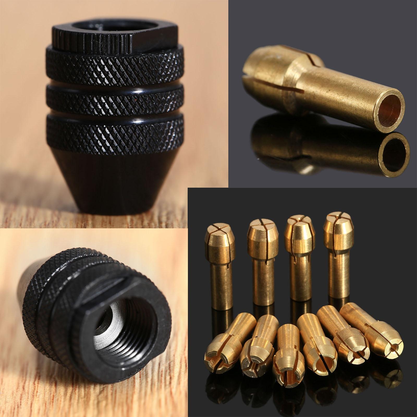 10Pcs Dremel Accessories Brass Collet Chuck 0.5-3.2mm Mini Drill Chuck 4.3mm Shank+8x0.75 Multi Keyless Chuck Dremel Rotary Tool