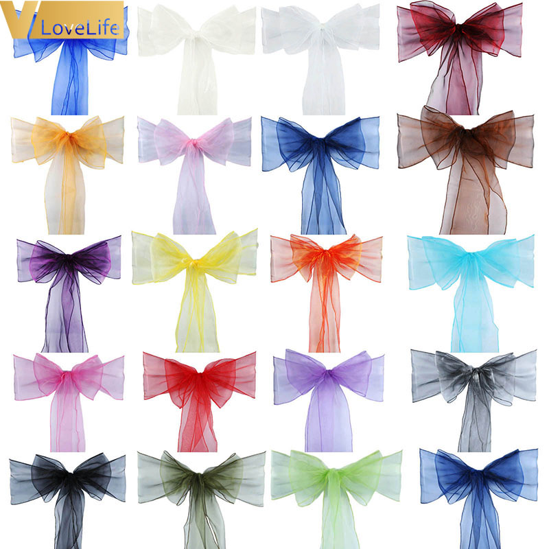 High Quality Organza Chair Sashes Wedding Chair Knot Cover Chairs Bow Band Belt Ties For Weddings Banquet 100x Decoration