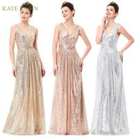 Kate Kasin Women Sleeveless V Neck Shining Sequined Evening Party Dress Formal Long Maxi Prom Gown Dresses Elegant Sequin Dress