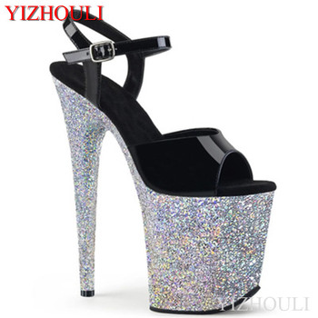 20 cm sexy silver sequins waterproof platform with black uppers, stiletto heels 8 inches high pole dancing model sandals
