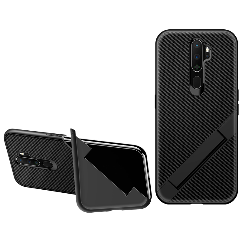 Carbon Fiber <font><b>Cases</b></font> For <font><b>OPPO</b></font> <font><b>A9</b></font> <font><b>A5</b></font> <font><b>2020</b></font> Realme 5 Pro C1 <font><b>Cases</b></font> Soft Silicone Bracket Anti-knock Covers For <font><b>OPPO</b></font> A3S A5S Shell Capa image