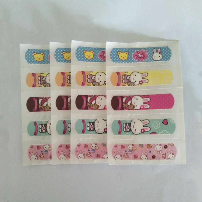 100 Pcs Waterproof Children Kids Cute Cartoon Band Aid Hemostasis Adhesive Bandage Wound Dressings First Aid Emergency One Color