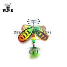 цены W.P.E NEW Spoon Lure 2pcs/lot Brass Spinner Lure Feather Metal CrankBait Carp Fishing Pesca Treble Hook Hard Bait Fishing Tackle