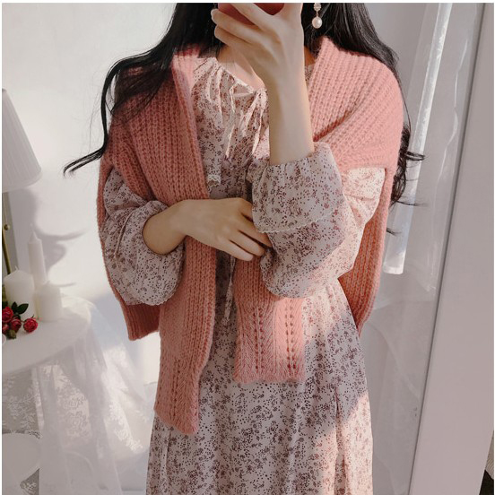 H0eec9ccf41a045eba6e7153984cc87375 - Autumn Puritan Collar Long Sleeves Chiffon Floral Print Lace-Up Slim Midi Dress