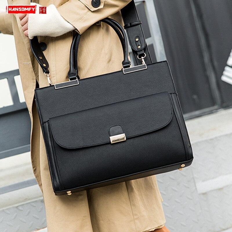New Women Notebook Briefcase Laptop Shoulder Slung Computer Bag Female Handbag Official Document Tote Bag Business Leather Bags