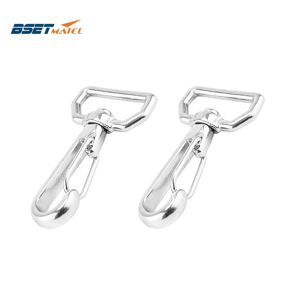 2PCS Ring Square Eye Swivel Snap Hook Stainless Steel 316 Quick Straping Hook Lobster Clasps Hiking Camping Carabiner Pet Chain