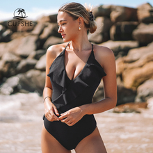 One-Piece Swimsuit Sexy Monokini CUPSHE Ruffle Yellow Beach Ladies Solid V-Neck Happy-Ending
