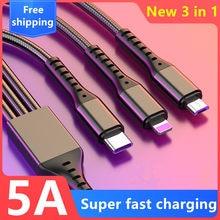5a 3in1 cabo de dados usb para iphone carregador rápido cabo de carregamento para o telefone android tipo c xiaomi huawei samsung carregador fio ipad