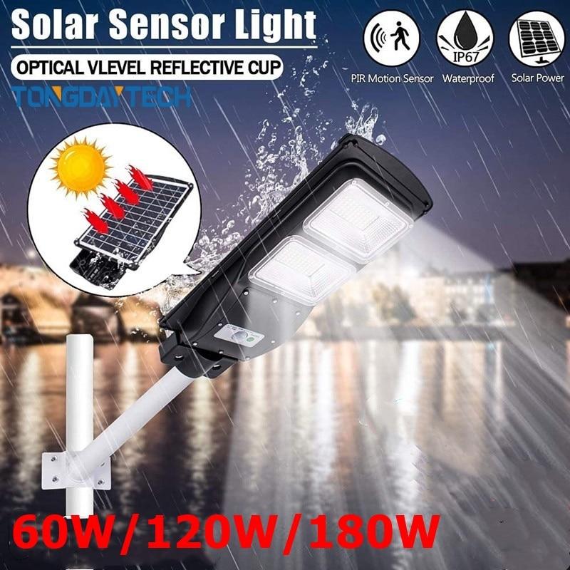 Tongdaytech 60W/120W/180W LED Solar Street Light Infrared Motion Wall Light Sensor IP67 Waterproof Flood Lamp For Garden Yard