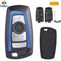 Замена KEYECU синий цвет умный пульт дистанционного управления автомобильный ключ оболочка чехол с 4 кнопками-FOB для BMW F CAS4 5 серия 7 серия