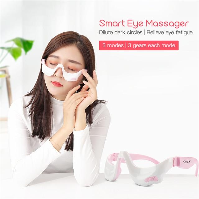 전기 눈 마사지 기계 진동 눈 마사지 도구 눈 피로 회복 무선 휴식 따뜻한 뜨거운 압축 USB 충전식 45