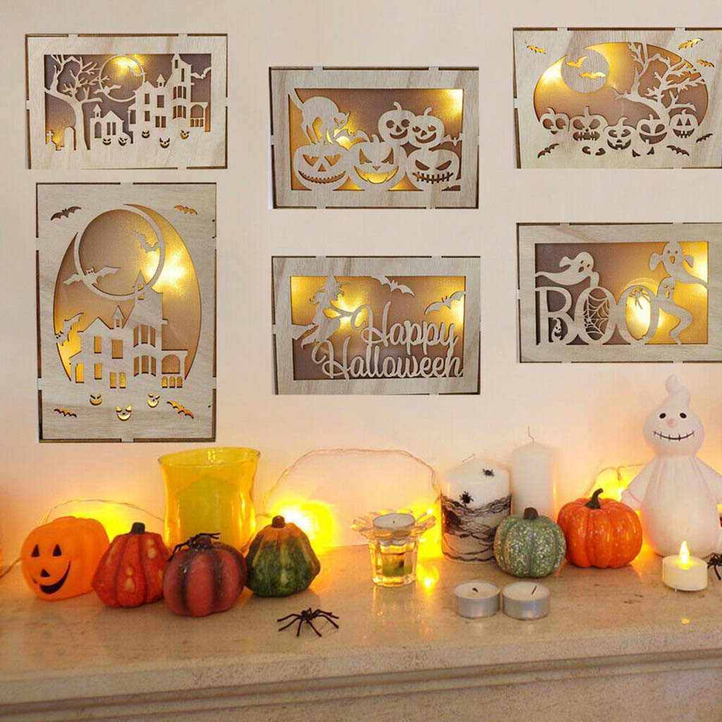 Halloween House 2020 2020 Wooden Pumpkin Haunted House Pendant LED Night Light