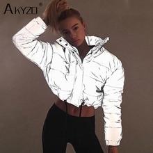 Reflective Cotton Jacket Women Turtleneck Full Sleeve Zipper Elastic Band Loose
