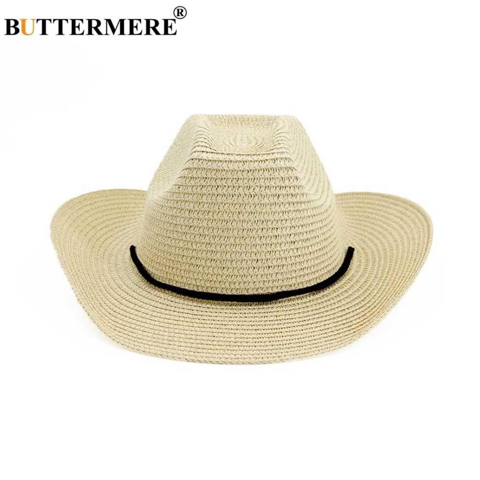 BUTTERMERE Hut Cowboy Männer Frauen Breite Krempe Sonnenhut Hut Casual Khaki Strand Stroh Hut Weiblich Männlich Frühling Sommer Cowboy Hut