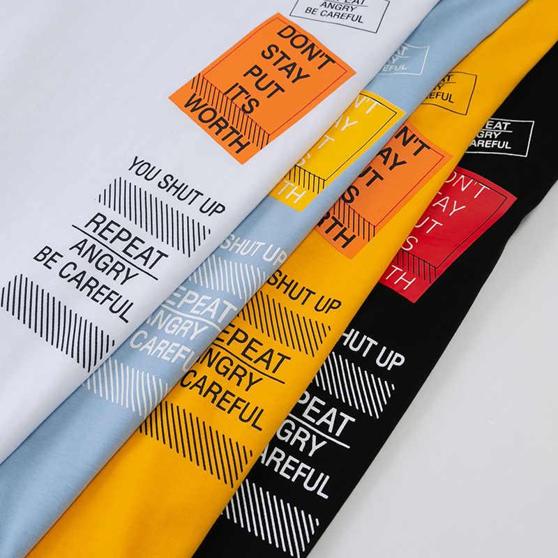 2020 Hip Hop T Hemd Männer brief drucken T-shirt Harajuku Streetwear T-shirt patchwork Kurzarm Sommer Tops T Rückseite Gedruckt
