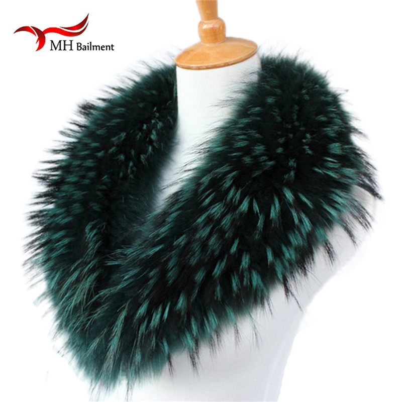 Winter Coat Fashion Sapphire Real Fur Collar Raccoons Fluffy Warm Shawl Autumn Long Style Designer Women Luxury Brand Scarves