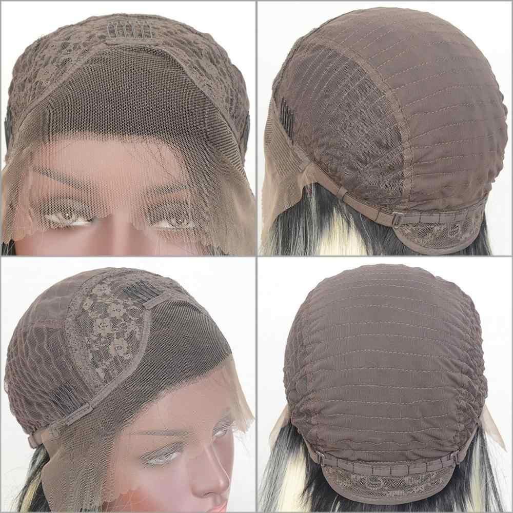Peluca frontal de encaje sintético de fibra de alta temperatura para mujer