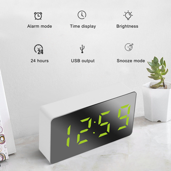 LED wielofunkcyjny lustro zegar cyfrowy budzik wyświetlanie czasu drzemki noc LCD lampa biurkowa pulpit USB 5v bez baterii Home Decor tanie i dobre opinie CN (pochodzenie) SQUARE DIGITAL Zegarki z alarmem Kalendarze LUMINOVA Z tworzywa sztucznego Nowoczesne Funkcja drzemki Jedna twarz