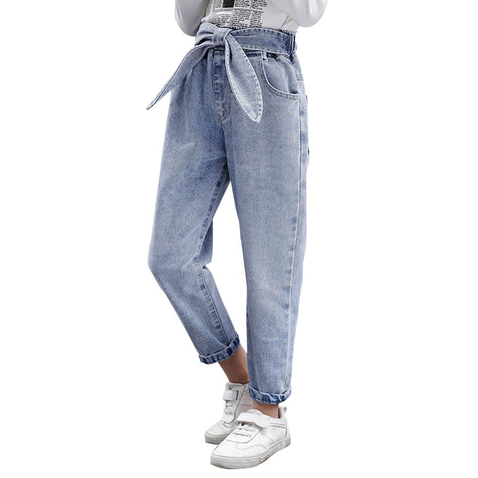 Детские джинсы для девочек, модные однотонные джинсы с бантом для девочек, повседневная осенняя одежда для девочек 6, 8, 10, 12, 14 лет, 2020|Джинсы| | АлиЭкспресс