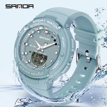 Sanda New Luxury Fashion Women Sport Watch Military Waterproof Multifunctional Led Digital Quartz Relogio Feminino 6005