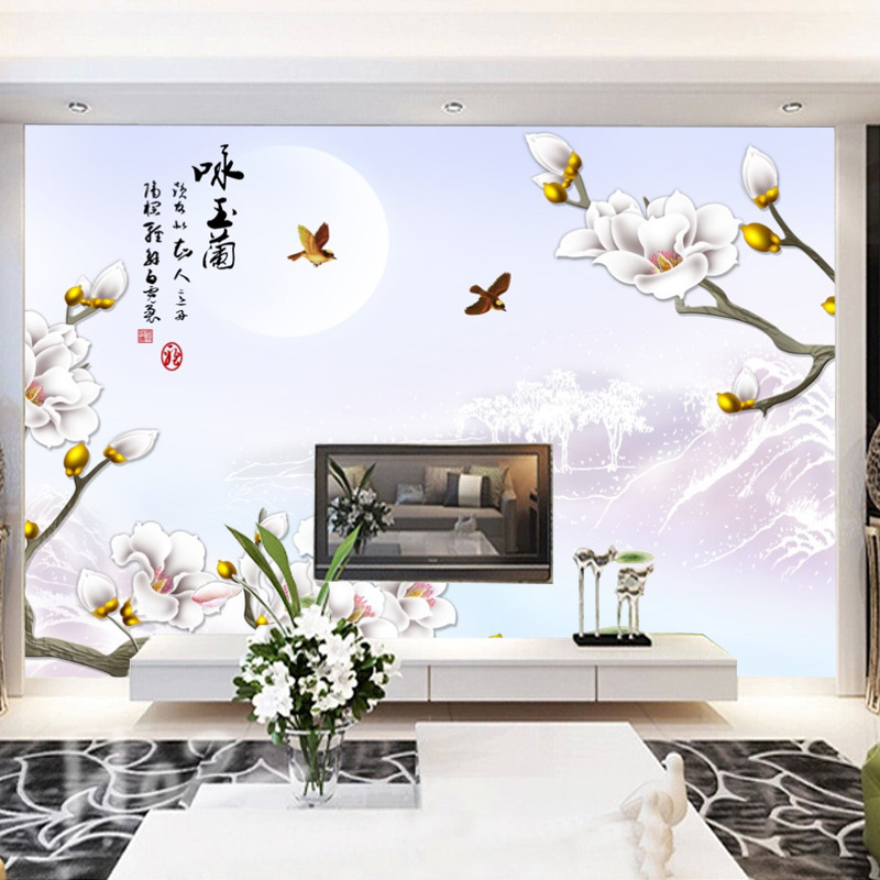 Simple TV Backdrop Wallpaper Living Room Non-woven Wallpaper Chinese Style 3D Seamless Bedroom Rose Mural