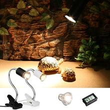 Рептилий теплый светильник набор UVA/UVB и гибкий зажим держатель лампы термометром и гигрометром декоративные часы для черепах Basking лампы тепла светильник комплект
