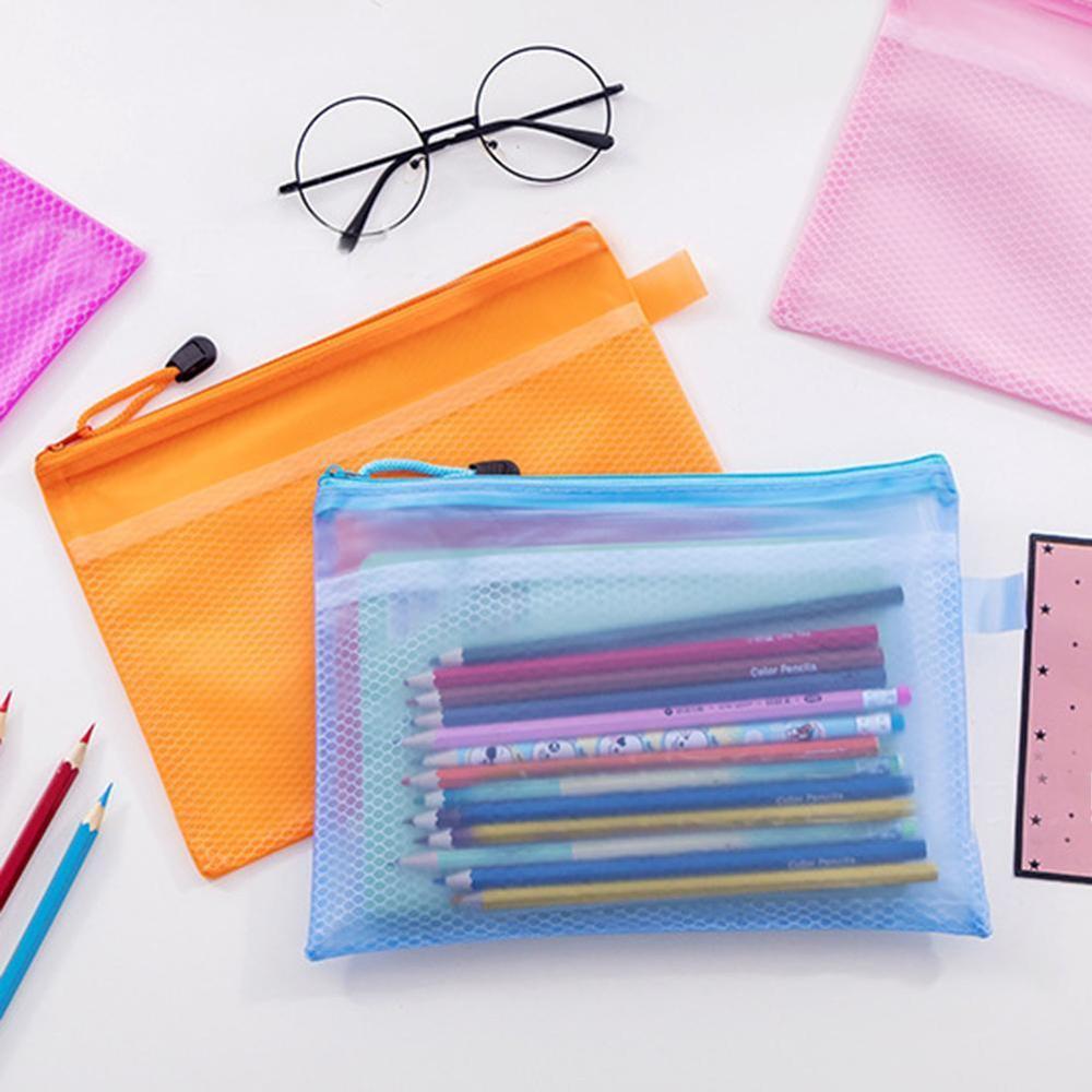 High Quality Random Color Plastic Double Layer Paper Document File Bill Zipper Bag Pencil Pouch
