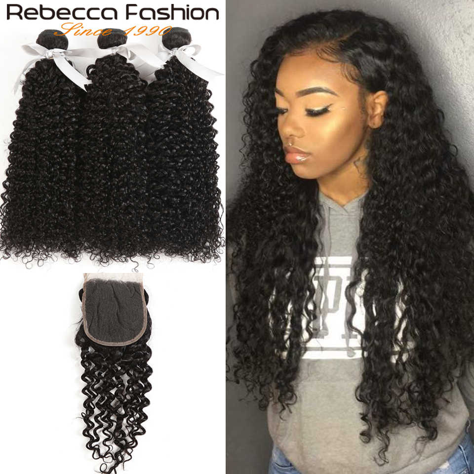 Rebecca Curly Hair Bundles With Closure Brazilian 100% Human Hair Weave 3 Bundles With Closure Non Remy Hair Bundle Deals Nature