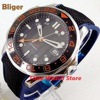 Bliger 41mm GMT 3804 Automatic watch men waterproof steel black dial Date ceramic bezel canvas rubber strap red marks B310|Mechanical Watches| |  -