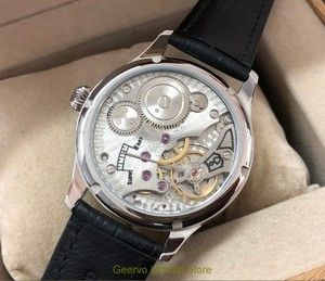 Image 5 - 44mm GEERVO convex mirror white dial Asian 6497 17 jewels Mechanical Hand Wind movement mens watch Mechanical watches gr313 g8