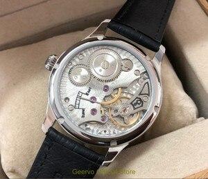 Image 5 - 44mm GEERVO espelho convexo branco dial Asian 6497 17 jewels movimento Do Vento Mão Mecânica relógios relógio Mecânico dos homens gr313 g8