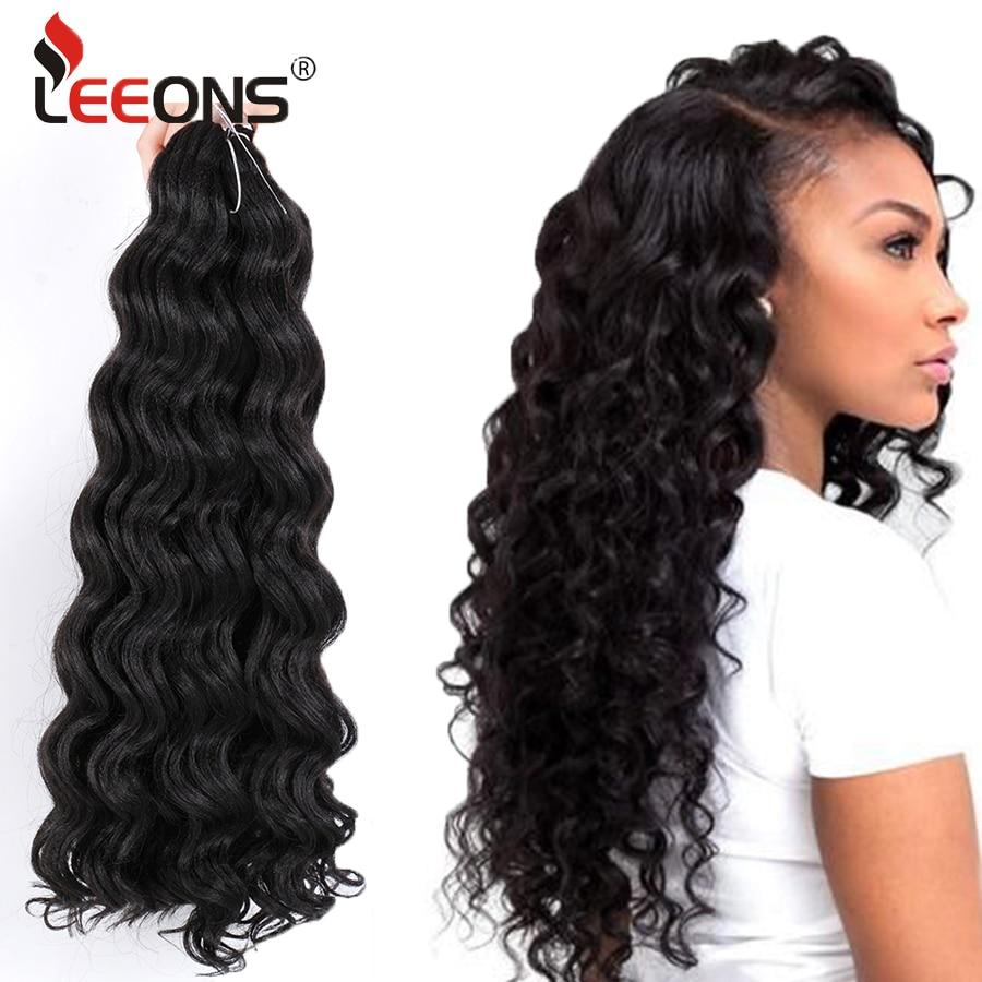 Leeons 20 inç Freetress su dalga Canecalon saç tığ saç ekleme su dalgası sentetik saç demetleri Ombre örgü saç