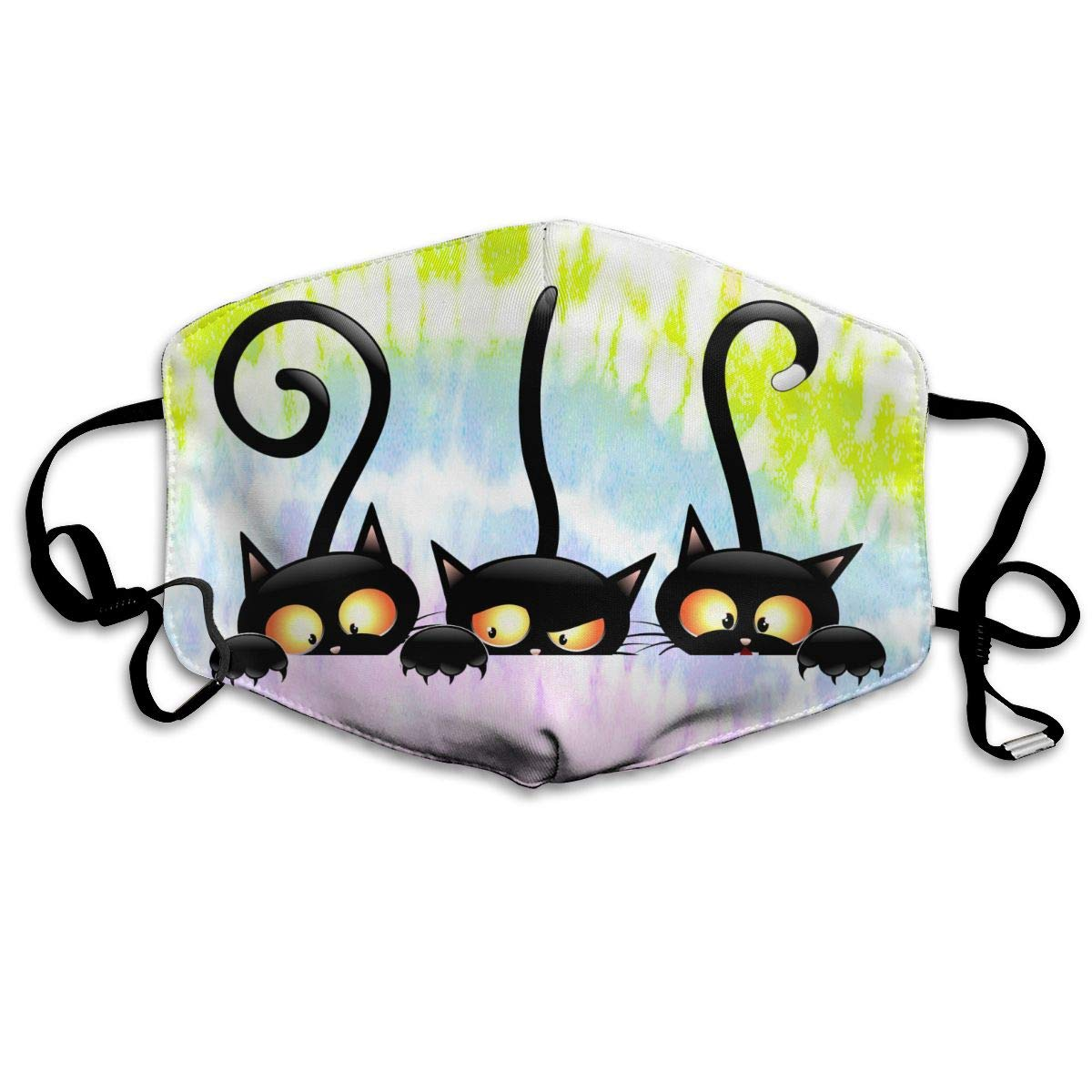 Witch Cat Washable Reusable   Mask, Cotton Anti Dust Half Face Mouth Mask For Kids Teens Men Women With Adjustable Ear Loops