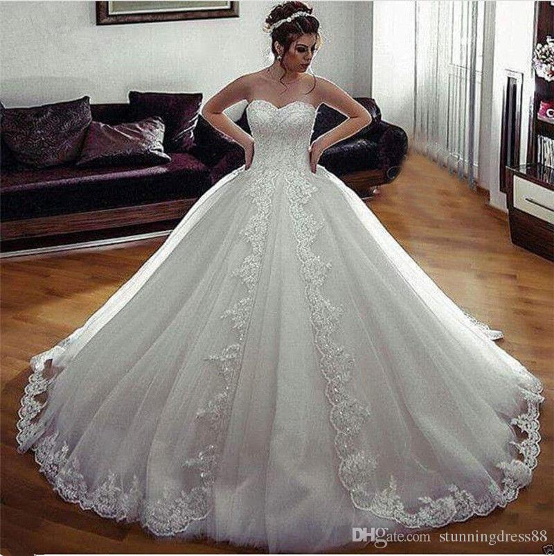 Modern Lace Ball Gown Wedding Dresses 2020 Sweetheart Applique Tulle Court Train Corset Back Wedding Bridal Gowns Cheap Long