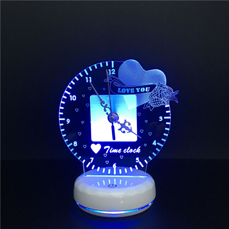 Image 4 - 3D led Night Light Time Clock Lamp Romantic Heart Love You Magic Fruit USB Power Touch Switch Colorful Remote Table LampLED Night Lights   -
